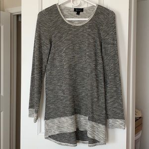 Marbled Gray-Black High Low Knit Top